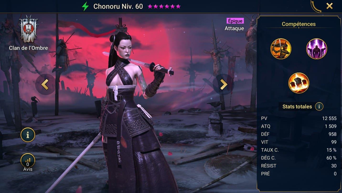 Guide maîtrises et artefact sur Chonoru
