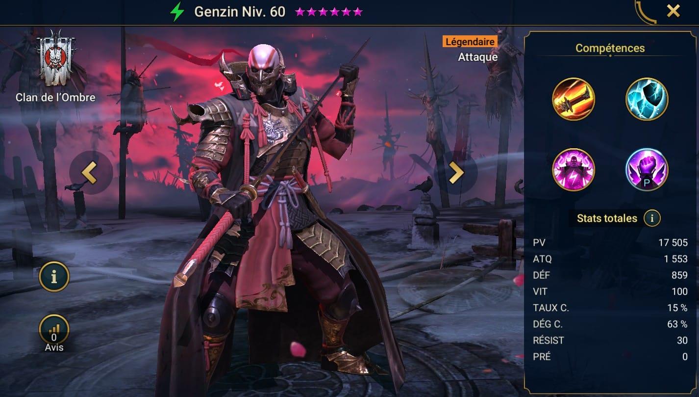 Guide maîtrises et artefact sur Genzin