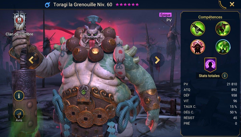 Guide maîtrises et artefact sur Toragi la Grenouille