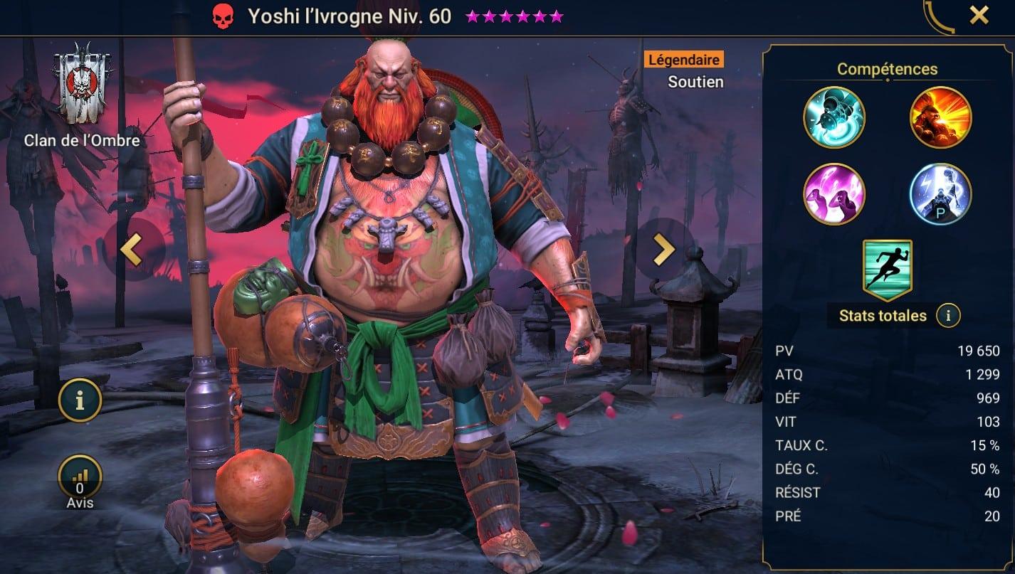 Guide maîtrises et artefact sur Yoshi l'ivrogne