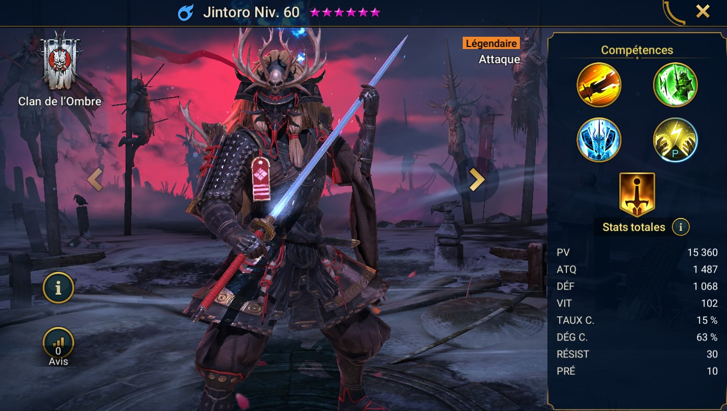 Guide maîtrises et artefact sur Jintoro