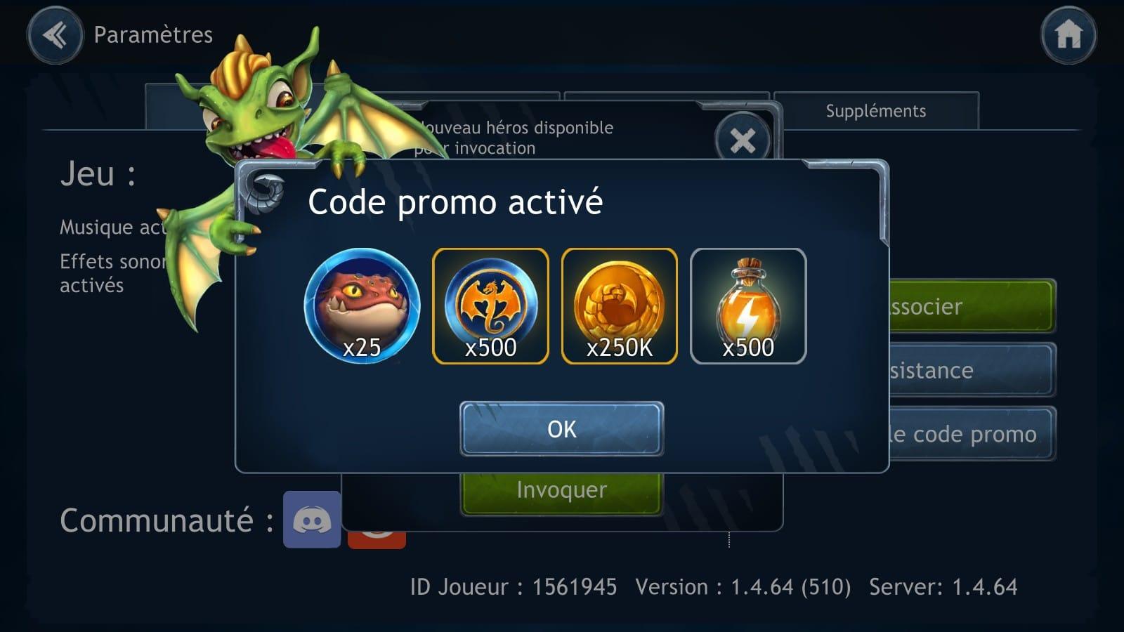 code promo activé