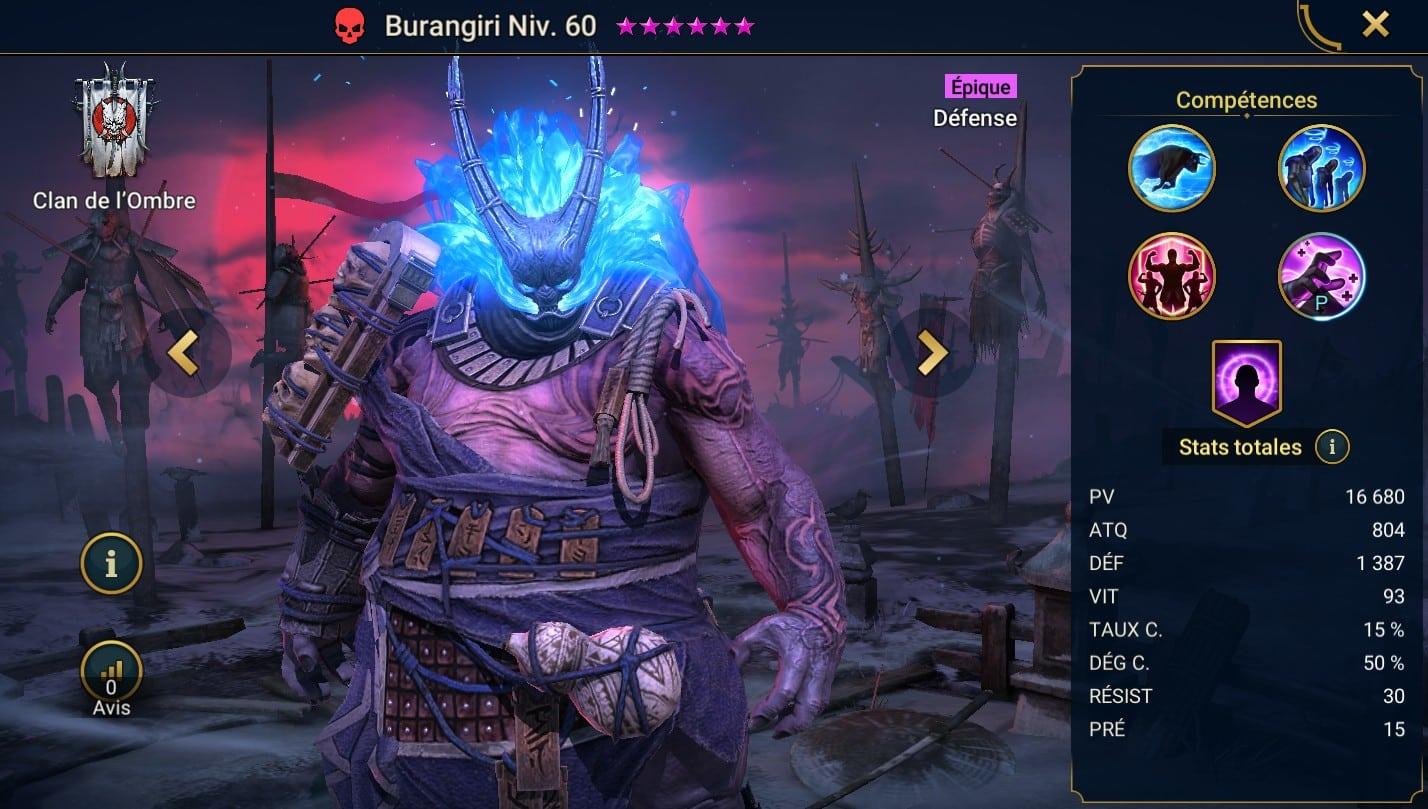 Guide maîtrises et artefact sur Burangiri