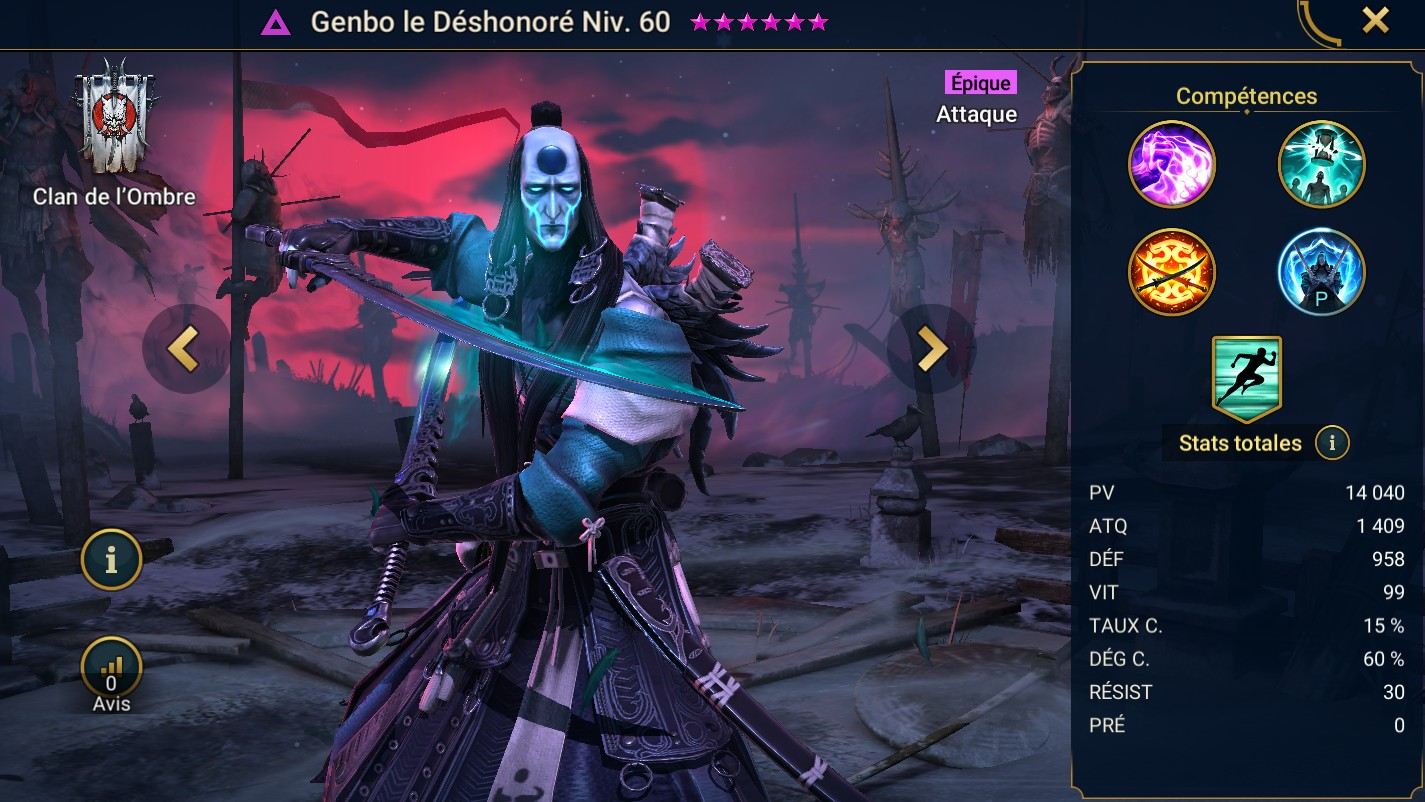 Guide maîtrises et artefact sur Genbo le déshonoré