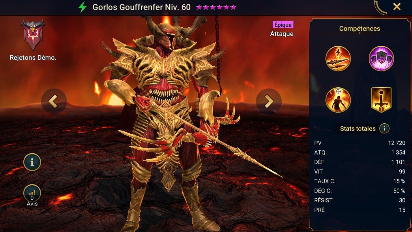 Guide maîtrises et artefact sur Gorlos Gouffrenfer