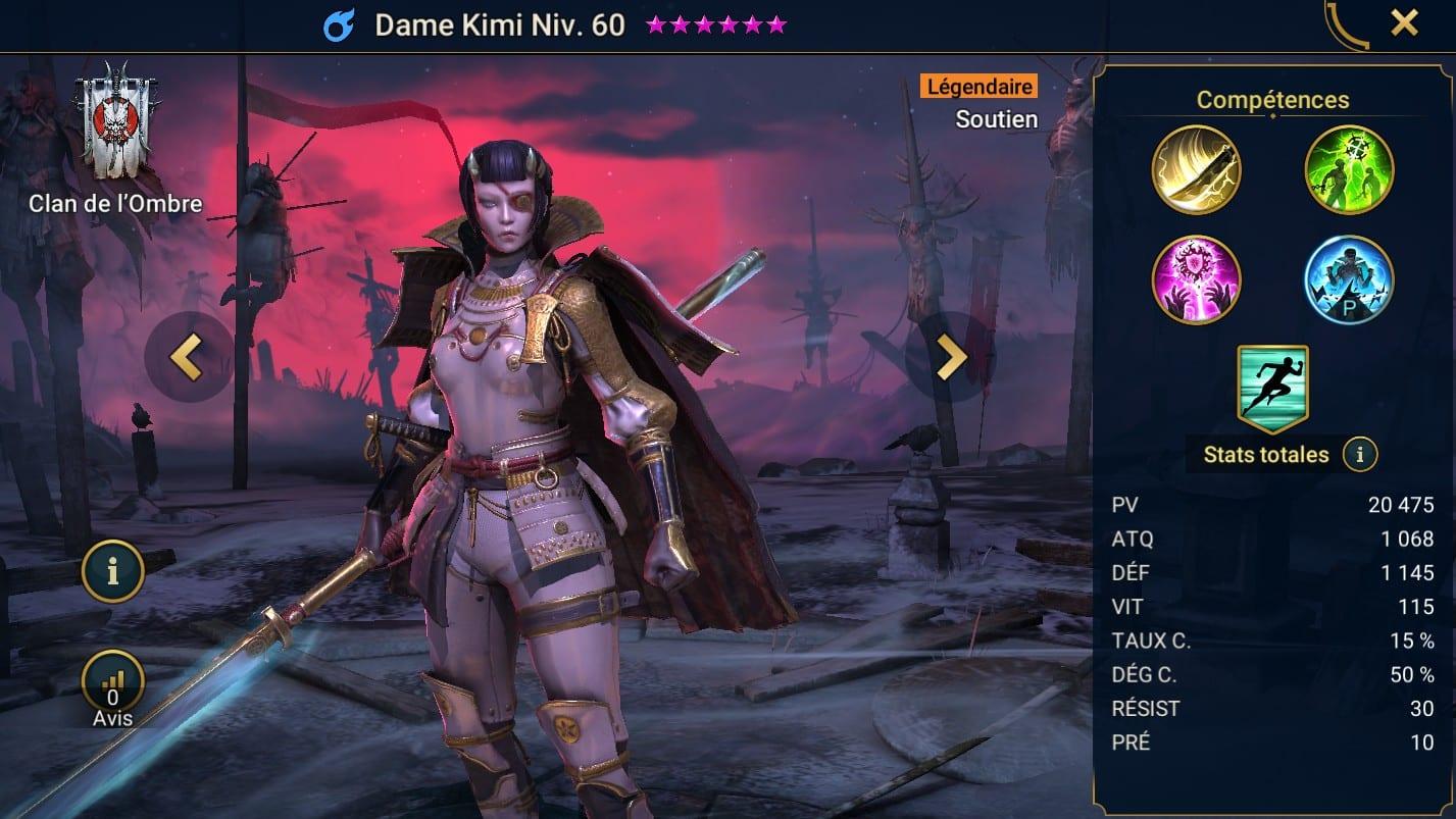 Guide maîtrises et artefact sur Dame Kimi