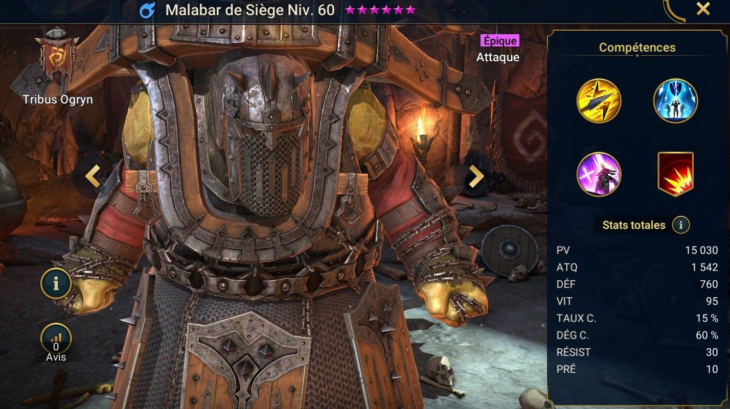 Guide maîtrises et artefact sur Malabar de Siège