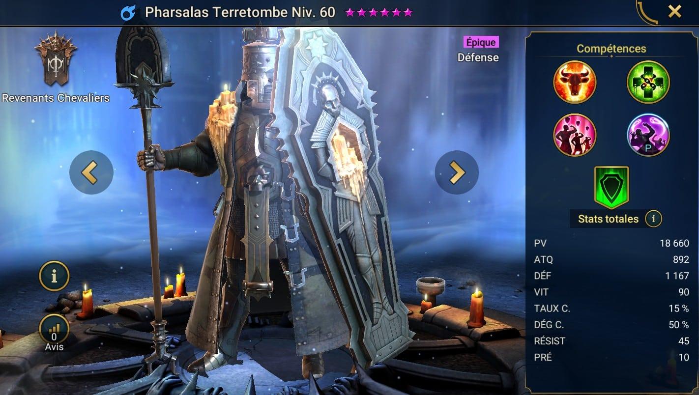 Guide maîtrises et artefact sur Pharsalas Terretombe