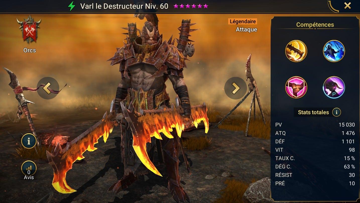Guide maîtrises et artefact sur Varl le destructeur