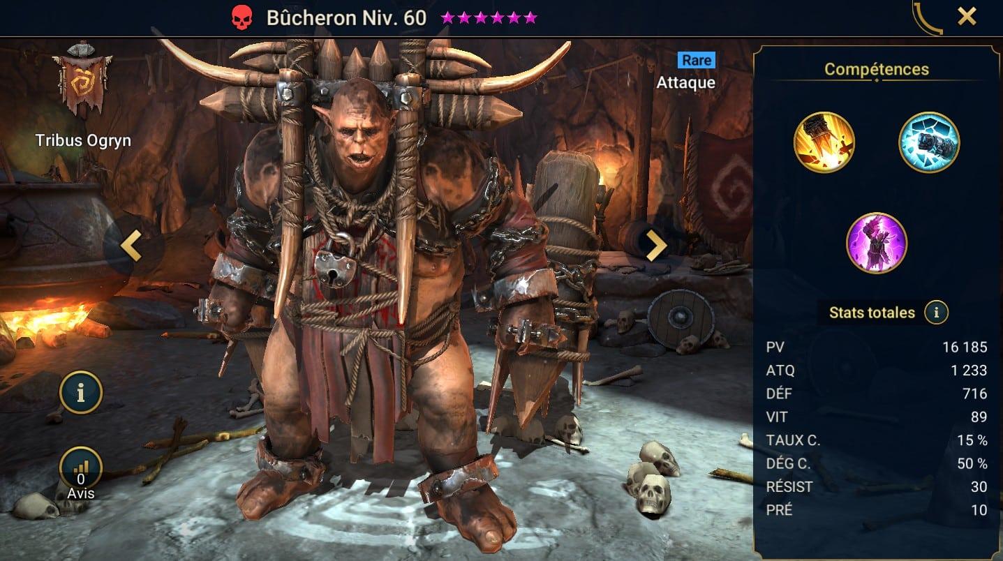 Guide maîtrises et artefact sur Bûcheron