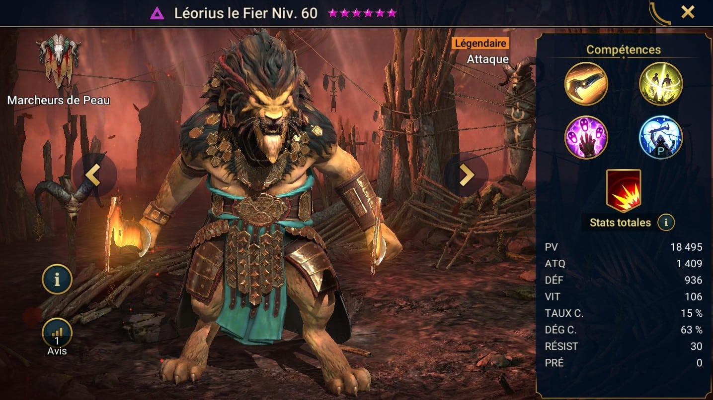 Guide maîtrises et artefact sur Léorious le fier