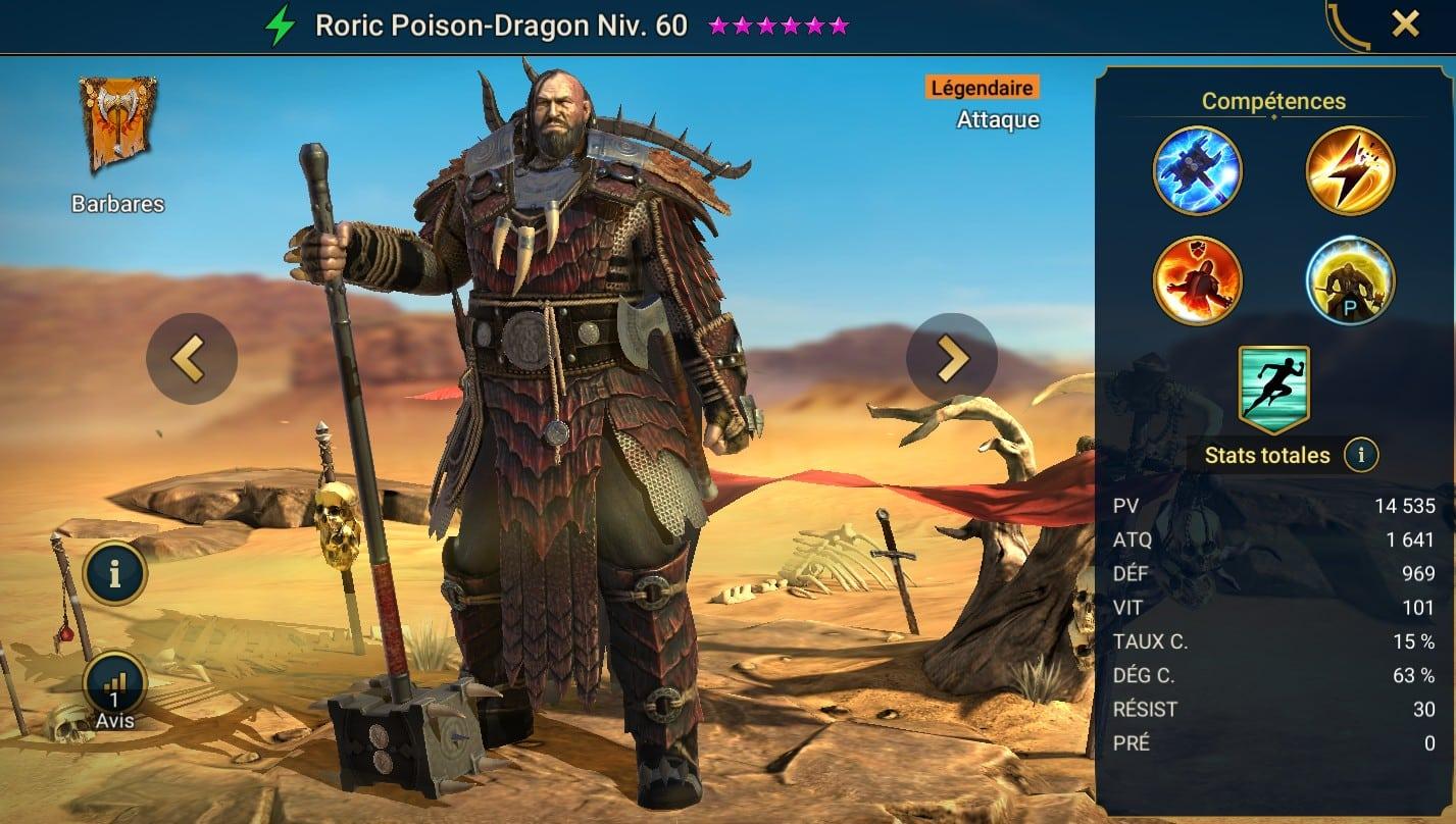 Guide maîtrises et artefact sur Roric Poison-Dragon